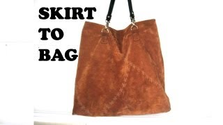 how to make a leather tote bag from a skirt / DIY Bag Vol 6