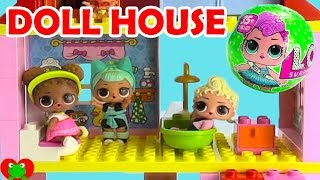 LOL Surprise Dolls Lego Duplo Doll House Build and Surprises