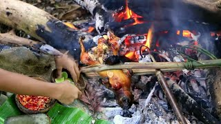Primitive Technology - Two boy finding Squirrel at river - cooking Squirrel Eating delicious 13