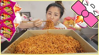 5 PACKS of 4X SPICY MALA FIRE NOODLES in 10 MINUTES CHALLENGE!!