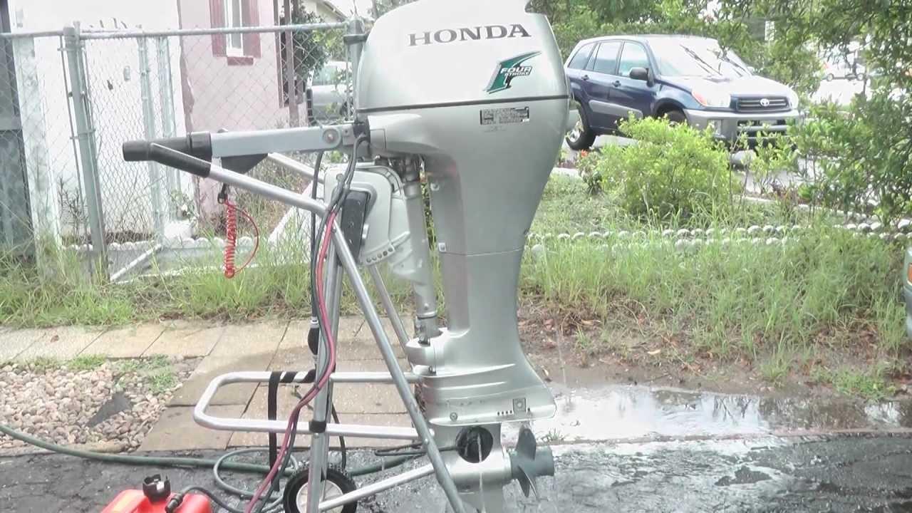8hp Honda longshaft tiller 4 stroke outboard motor - YouTube