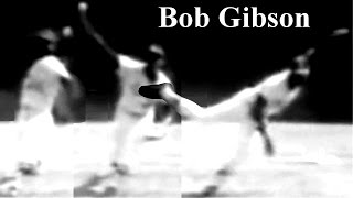 "Bob Gibson ""incline body forward & curvilinearly swing arm downward"" Pitching Mechanics Slow Motion"
