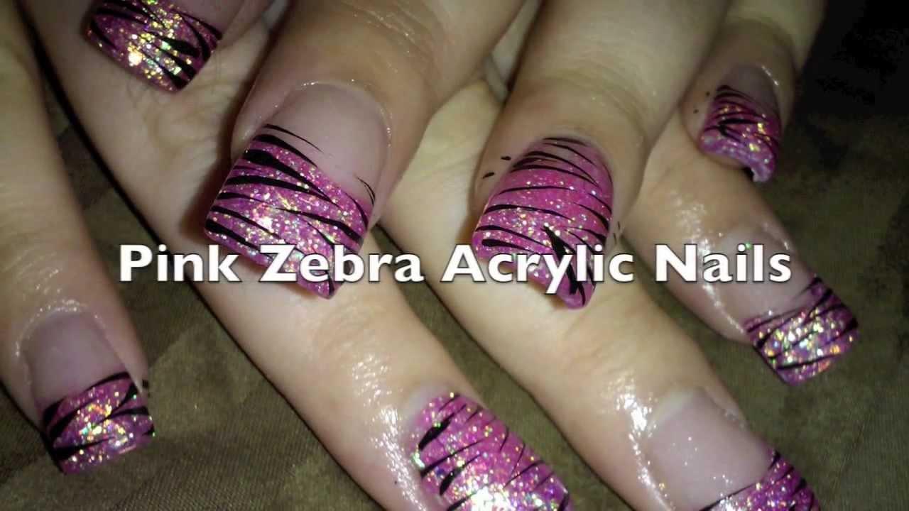 pink zebra acrylic nails
