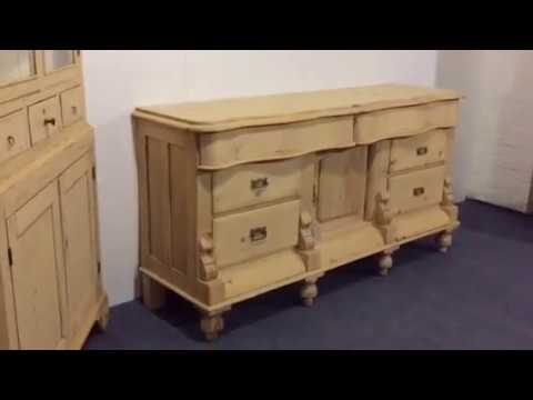 Yorkshire Serpentine Victorian Pine Sideboard for sale - Pinefinders Old Pine Furniture Warehouse