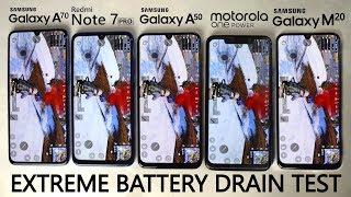 EXTREME BATTERY DRAIN TEST - Galaxy A70 vs Note 7 Pro vs Galaxy A50 vs Moto One Power vs Galaxy M20