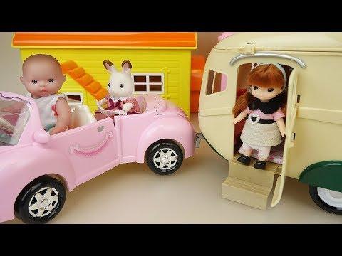 Baby Doli camping car toys baby doll play