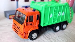 Garbage truck and Police car. Rubbish on the road. Toys video for children