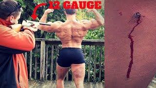 Bodybuilder VS 12 Gauge RUBBER BUCKSHOT *Intense Pain*   Shotgun Ammo Damage Test Challenge Fail
