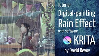Rain Effect - Krita digital-painting tutorial
