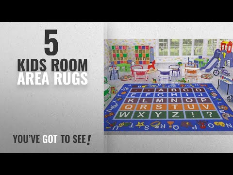 Watching video Top 10 Kids Room Area Rugs [2018 ]: Ottomanson Jenny Collection Light Blue Frame with Multi Colors