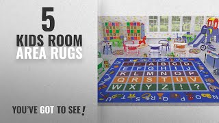Top 10 Kids Room Area Rugs [2018 ]: Ottomanson Jenny Collection Light Blue Frame with Multi Colors