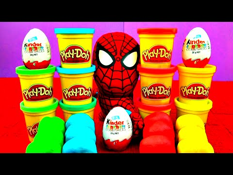 Spiderman Kinder Surprise Play-Doh Eggs Lion King Cars 2 Donald Duck Dinosaur Fries Disney FluffyJet
