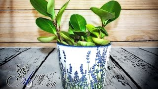 Decoupage tutorial - decoupage with napkins on flower pot
