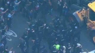 Protesters and police clash in Boston