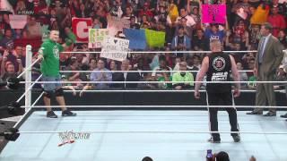 WWE Monday Night RAW 2012.04.09 : Brock Lesnar and John Cena Brawl [ HD ]
