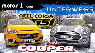 Opel Corsa GSi vs. Mini Cooper 1.5 | UNTERWEGS mit Daniel Hohmeyer