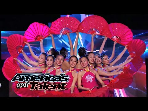 Jasmine Flowers: Dance Academy Performs Visual Fan Dance - America's Got Talent 2014
