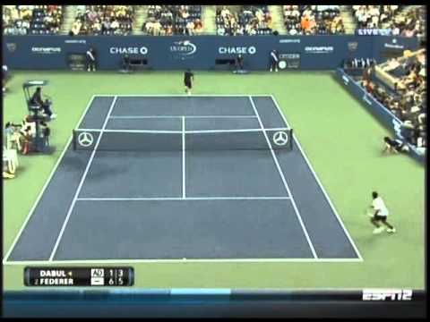 Thumb Tennis: Roger Federer US Open shot between the legs (vs Brian Dabul)