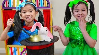 Jannie & Emma Pretend Play as Magician & Singer at Theater Kids Show