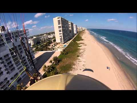 Urban Paragliding On The Beach Soaring Off Of Buildings