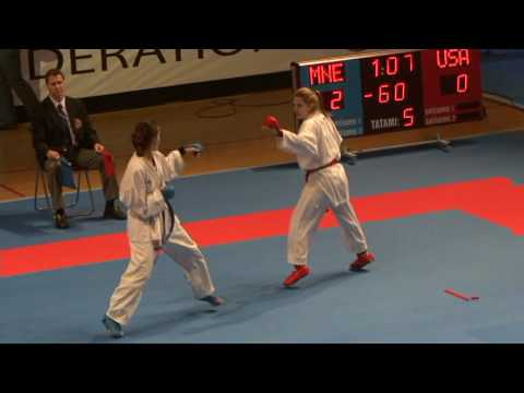 2009 WKF Jr Worlds -21 Women -60 Kg Aka USA vs Ao Montenegro