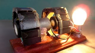Science Free energy generator Magnet & Motor with Light bulb   Easy DIY experiment at Home