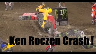 Ken Roczen HUGE Crash! 2017 Anahiem 2 Supercross Round 3