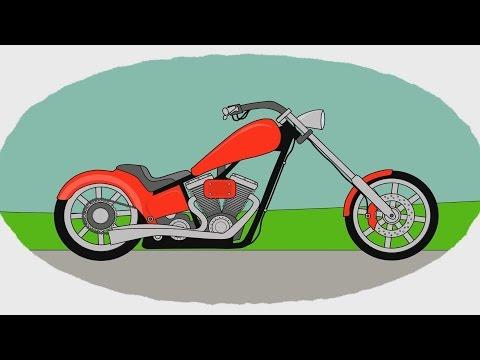 Мультик - Раскраска. Учим Цвета - Мотоциклы - Часть 2