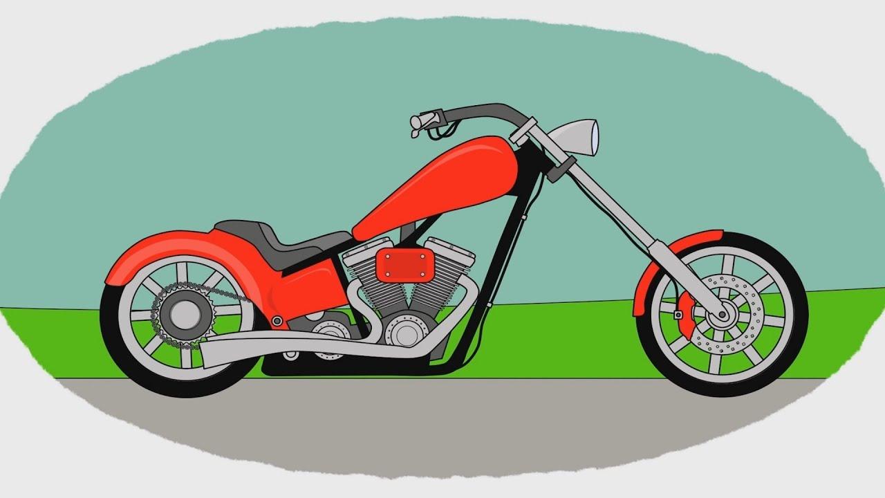 Мотоцикл мультики раскраска