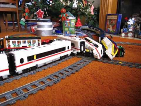 LEGO train crash high speed Eurostar and ICE 3 on 9V double track Music Videos