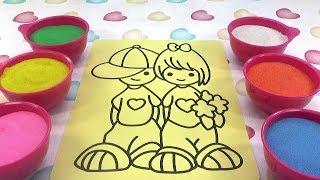 NHẠC THIẾU NHI-ĐỒ CHƠI TRẺ EM TRANH CÁT-TÔ MÀU TRANH CÁT ĐÔI BẠN NHỎ Colored Sand Painting