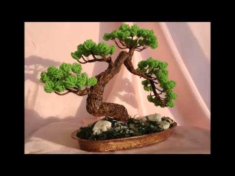 Красивые фото Бонсай из бисера своими руками - YouTube