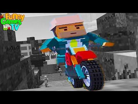 Мультики про машинки гонки на мотоциклах в стиле Minecraft игровой мультфильм MOTO CROSS HILL CLIMB