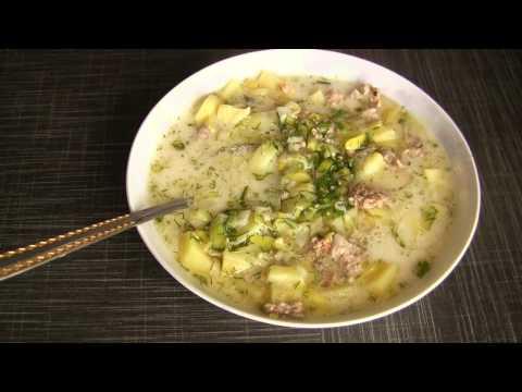 Суп ! С плавленым сыром и луком порей!