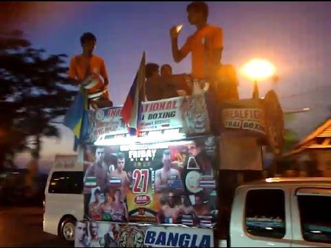 Street advertising of Thai boxing. Souvenirs of shells. Phuket. Near Patong Beach. 27.03.2015