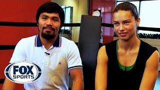 Adriana Lima trains with Manny Pacquiao