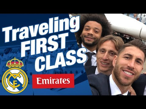 INCREDIBLE FIRST CLASS Emirates flight with REAL MADRID players