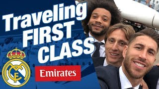 Real Madrid players traveling FIRST CLASS Emirates A380
