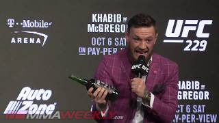 Conor McGregor Sneaks Whiskey Into the Press Conference (UFC 229)