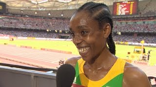 WCH 2015 Beijing - Interview with Almaz Ayana ETH 5000m Heat 2