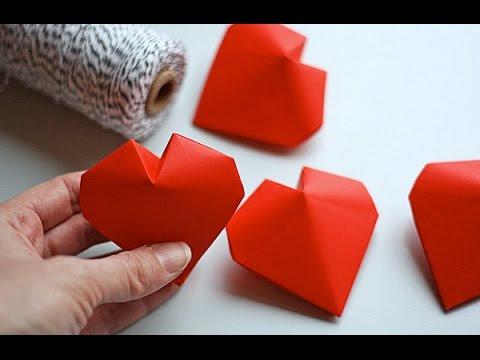 Объемное сердечко оригами.Three-dimensional origami heart
