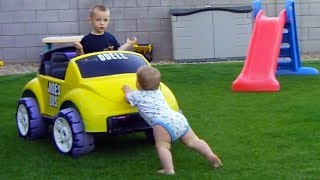 Funny Babies Car Accidents - TRY NOT TO LAUGH At Toddlers Driving Power Wheels
