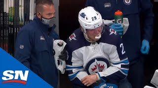 Laine Leaves Game Favouring Wrist After Shoving Match With Giordano