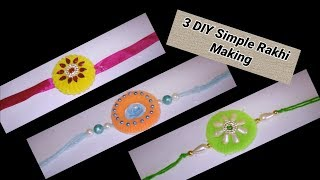 3 DIY Simple Making Rakhi with hair rubber bands at home
