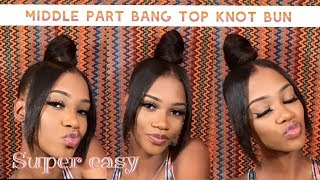 HOW TO: middle part bang with a top knot bun |ClaireFendy