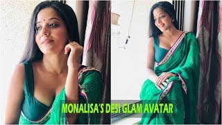 Bhojpuri sensation Monalisa looks super glamorous in this green sari!