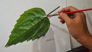 Realistic Leaf Acrylic Painting in Time-lapse by JM Lisondra