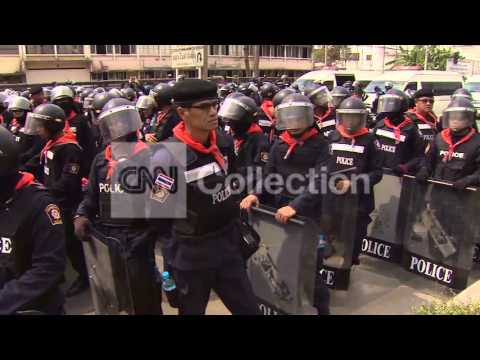 THAI RIOT POLICE FACE OFF AGAINST PROTESTERS