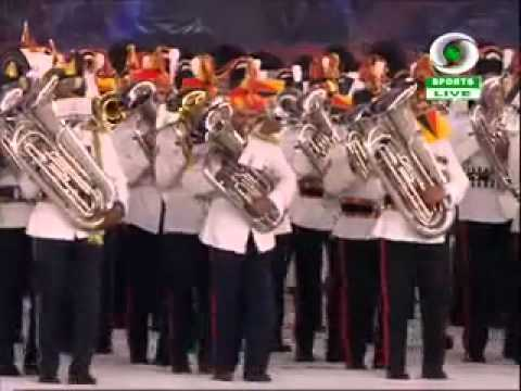 Common Wealth Games 2010 Closing Ceremony New Delhi-indian Army, Air Force And Navy Bands March video