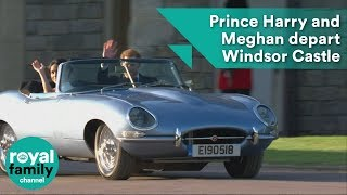 Prince Harry and Meghan Markle depart Windsor Castle in classic open-top sports car